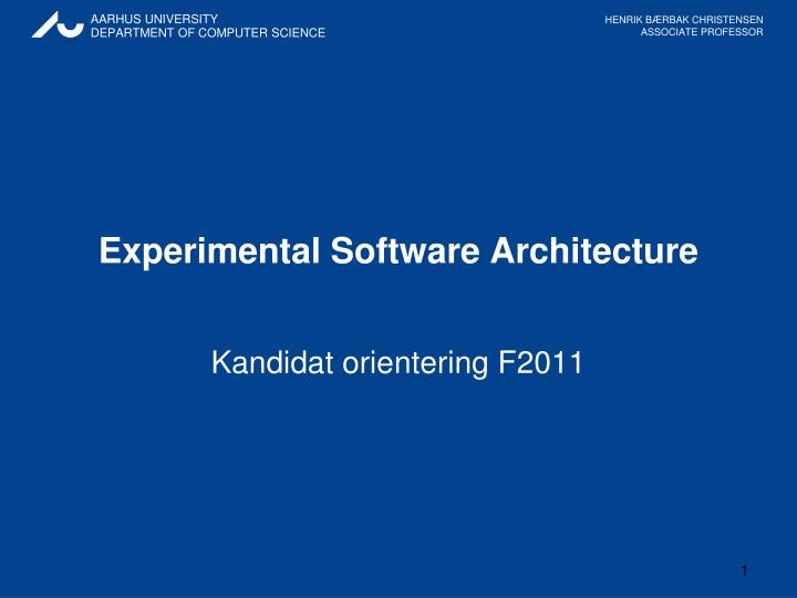 experimental software architecture n.