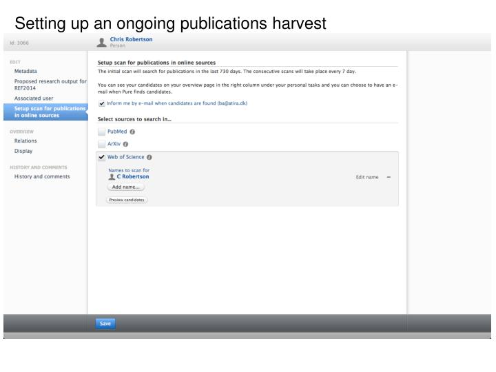 Setting up an ongoing publications harvest
