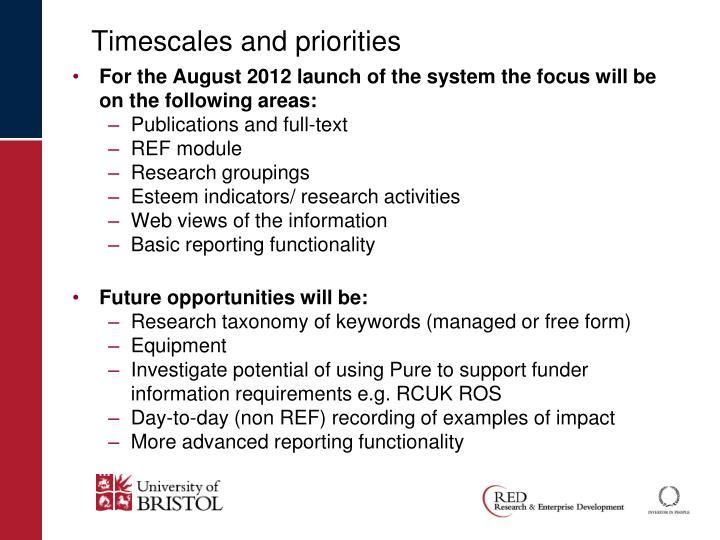 Timescales and priorities