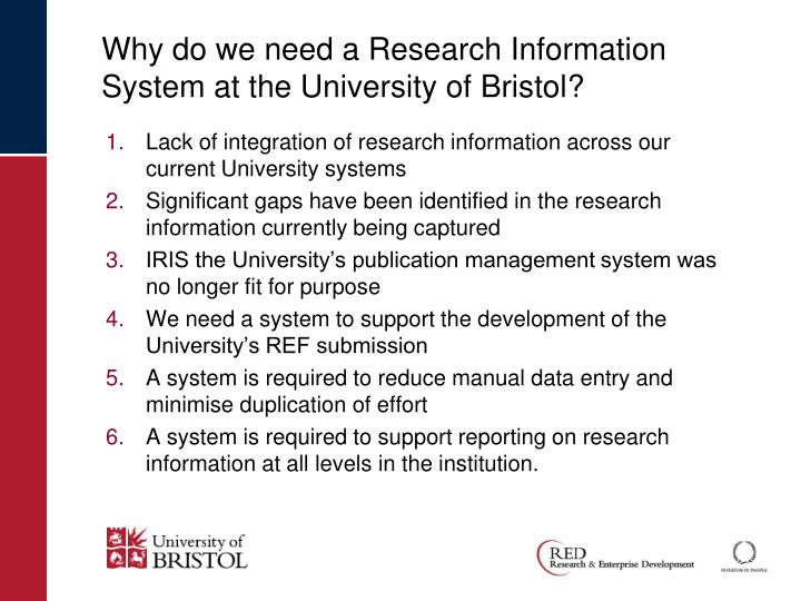 Why do we need a research information system at the university of bristol