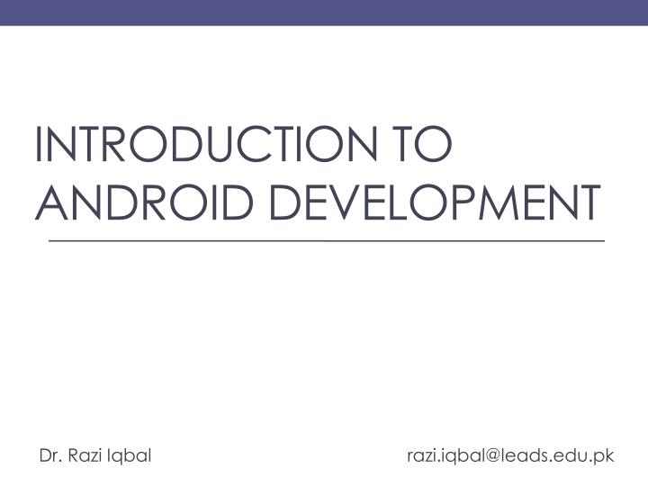 introduction to android development n.