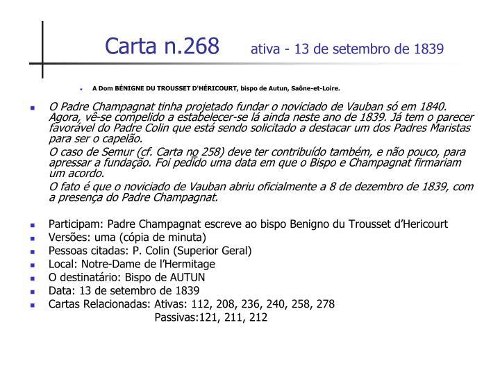Carta n 268 ativa 13 de setembro de 1839