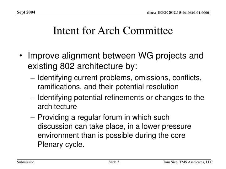 Intent for arch committee