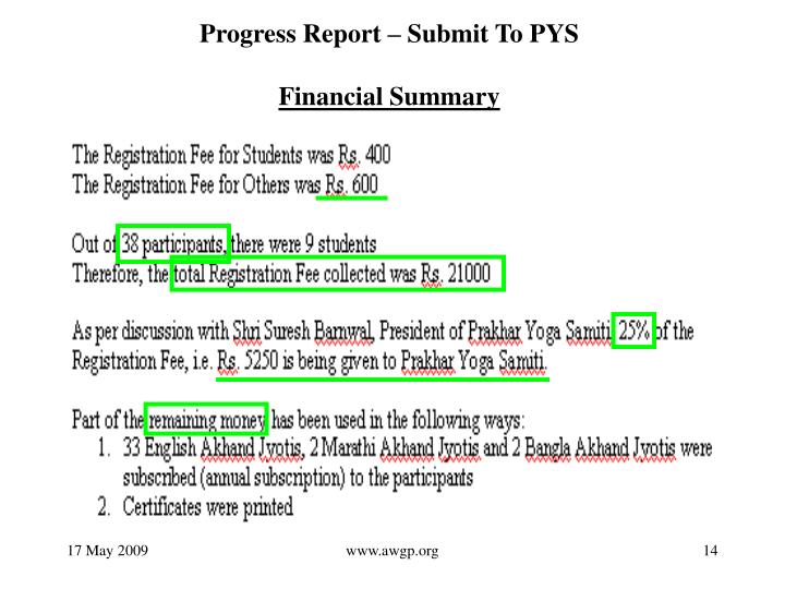 Progress Report – Submit To PYS