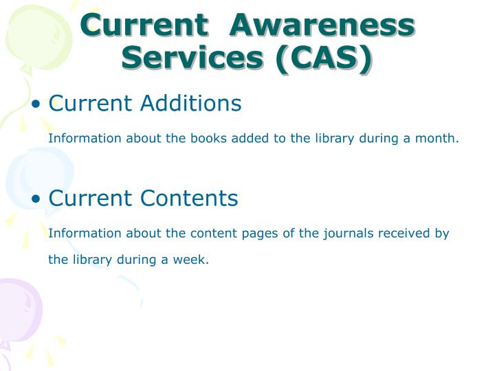 Current  Awareness Services (CAS)