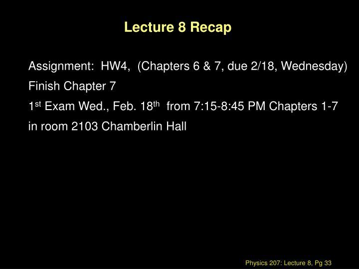 Lecture 8 Recap