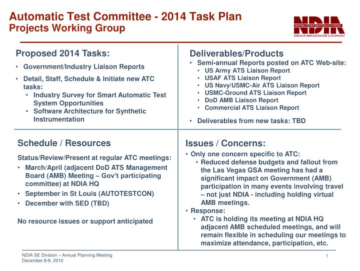 automatic test committee 2014 task plan projects working group n.