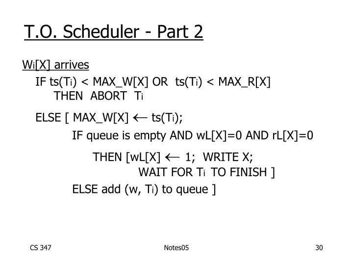 T.O. Scheduler - Part 2