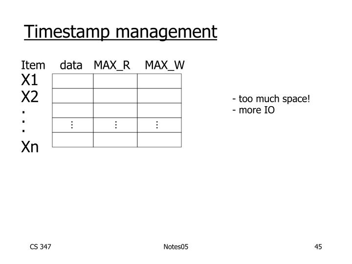 Timestamp management