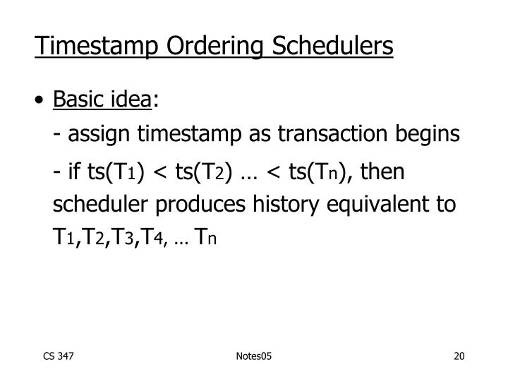 Timestamp Ordering Schedulers