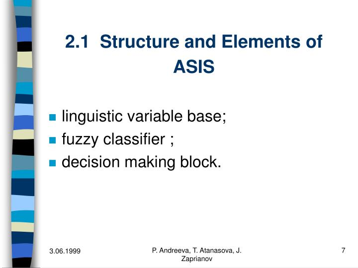 2.1  Structure and Elements of ASIS