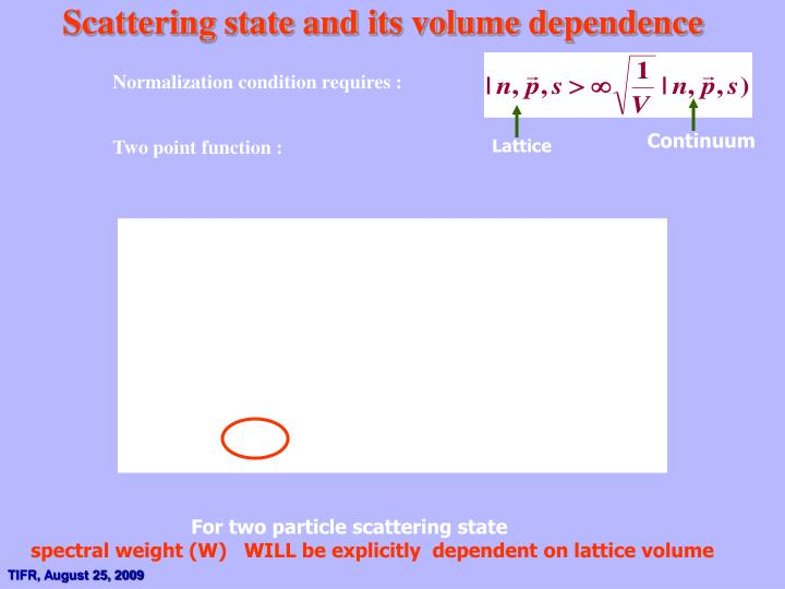 Scattering state and its volume dependence