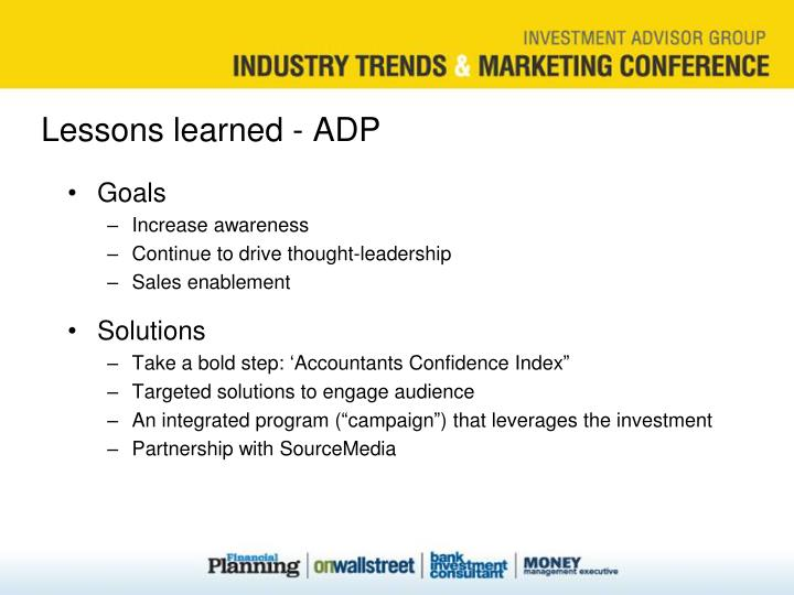 Lessons learned - ADP