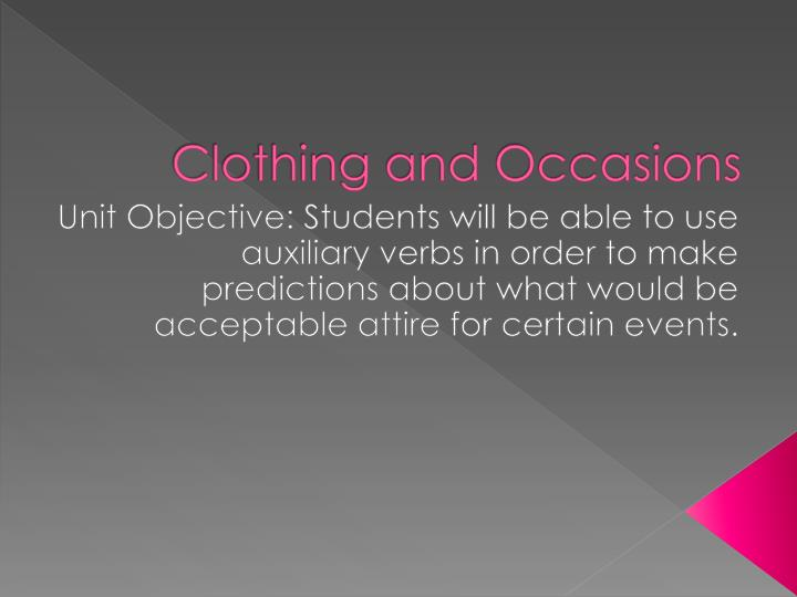 clothing and occasions n.