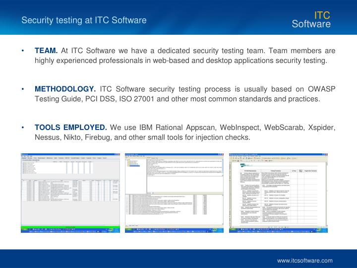 Security testing at ITC Software