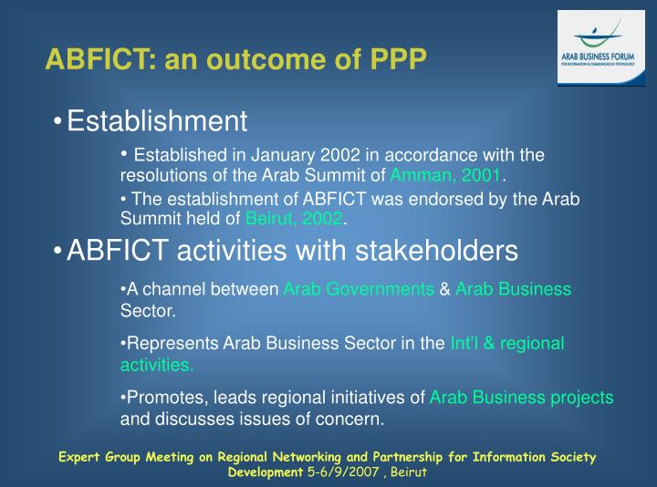 ABFICT: an outcome of PPP