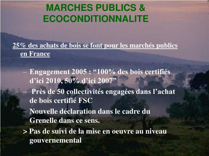 MARCHES PUBLICS & ECOCONDITIONNALITE