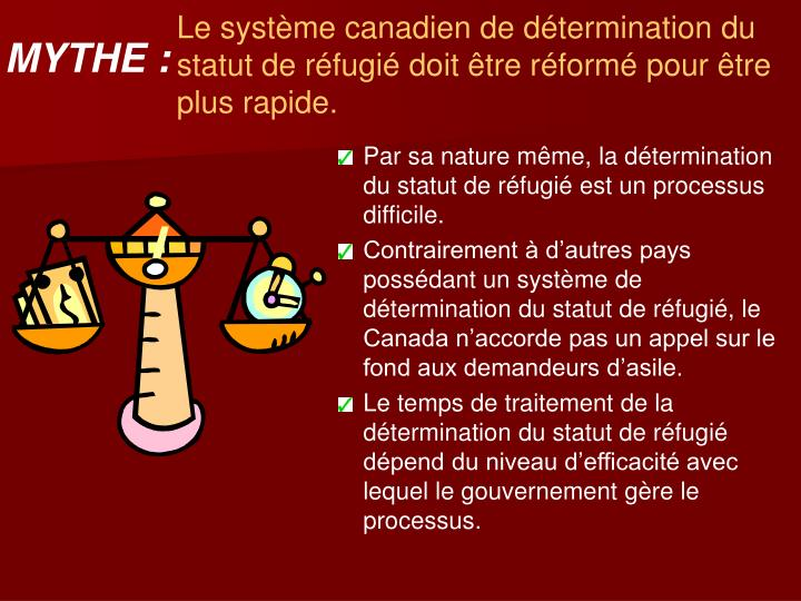 Le système canadien de détermination du statut de réfugié doit être réformé pour être plus rapide.