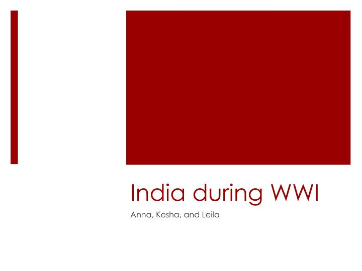 india during wwi n.