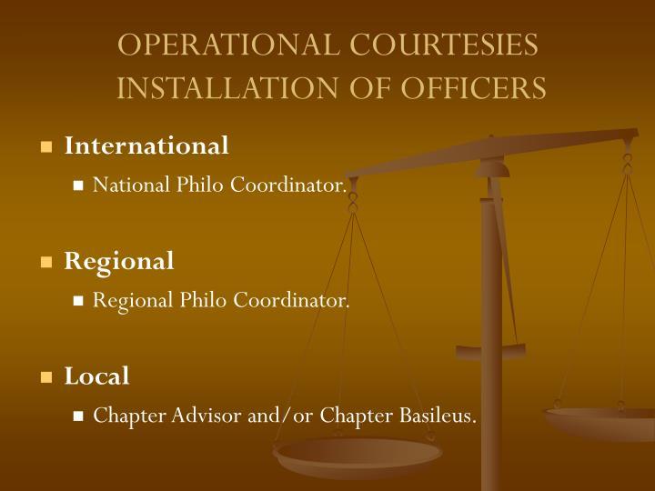 OPERATIONAL COURTESIES