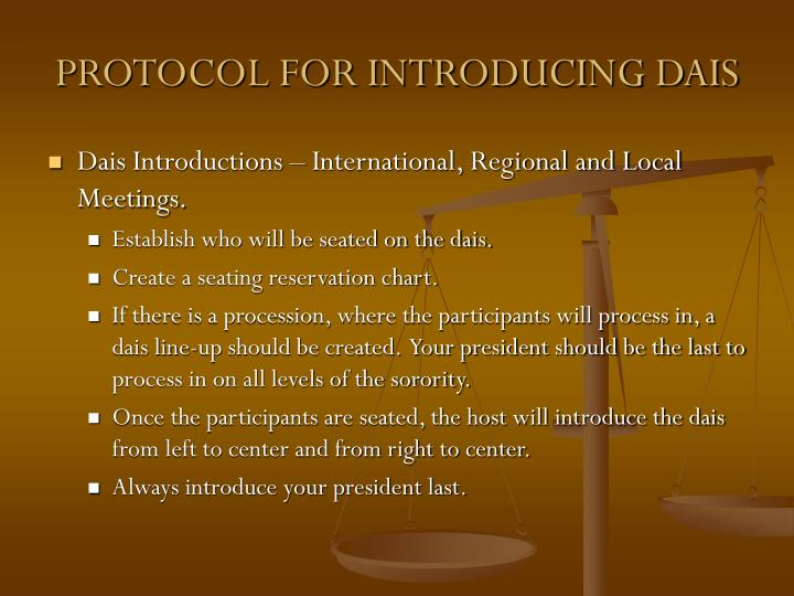 PROTOCOL FOR INTRODUCING DAIS