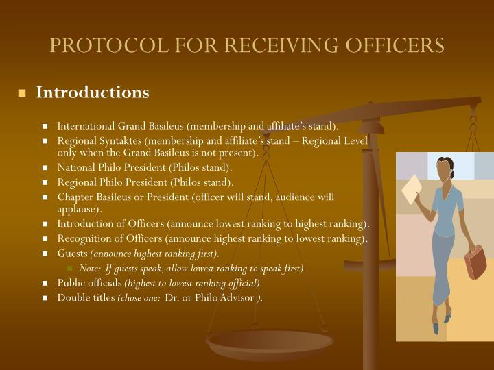 PROTOCOL FOR RECEIVING OFFICERS
