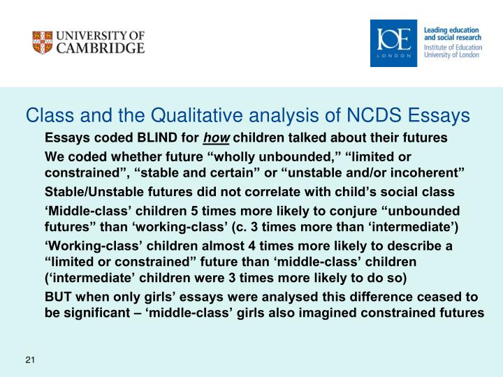 Class and the Qualitative analysis of NCDS Essays