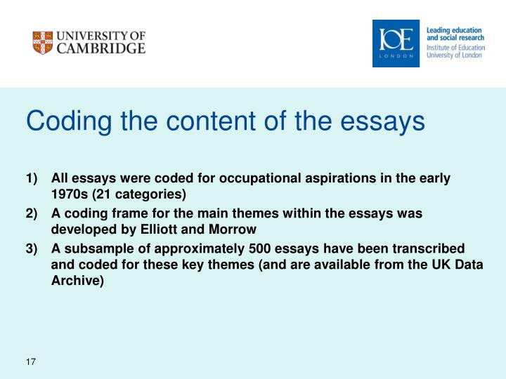 Coding the content of the essays