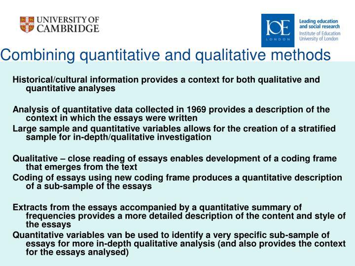 Combining quantitative and qualitative methods