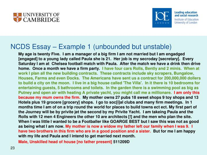 NCDS Essay – Example 1 (unbounded but unstable)