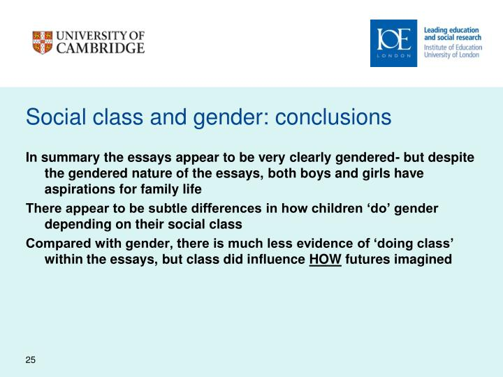 Social class and gender: conclusions