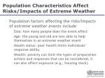 population characteristics affect risks impacts of extreme weather