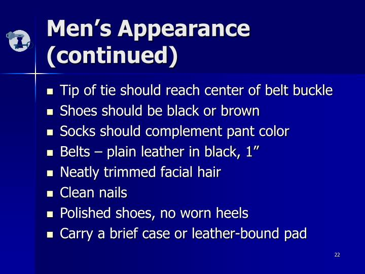 Men's Appearance (continued)