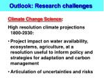 outlook research challenges