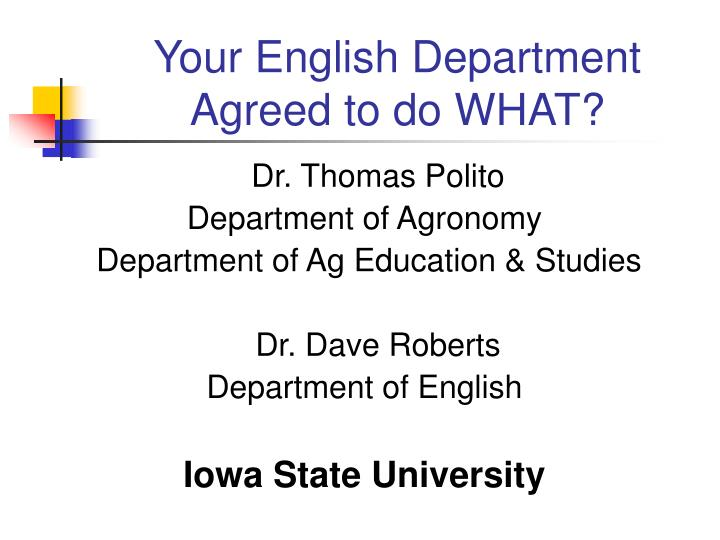 your english department agreed to do what n.