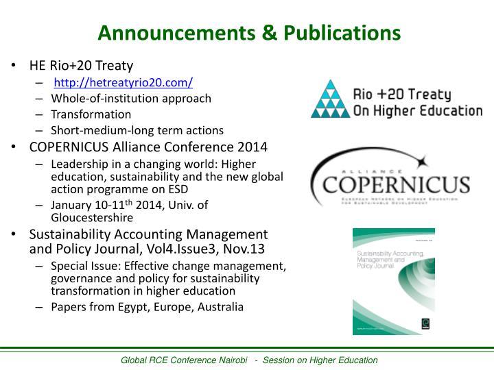 Announcements & Publications