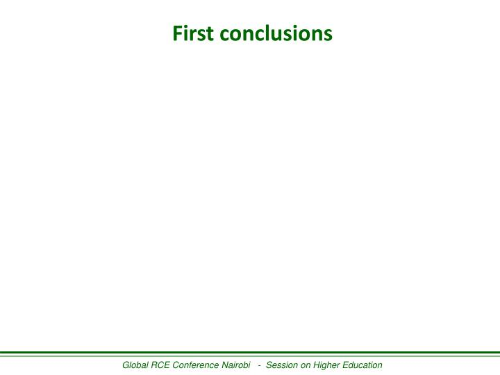 First conclusions