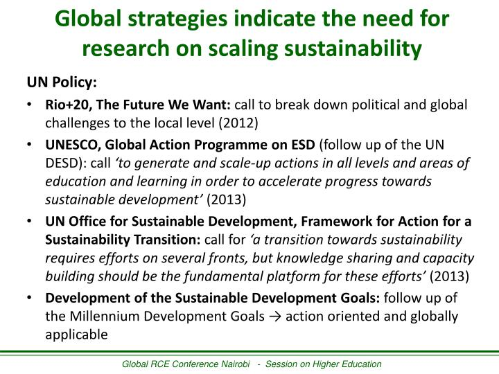 Global strategies indicate the need for research on scaling sustainability