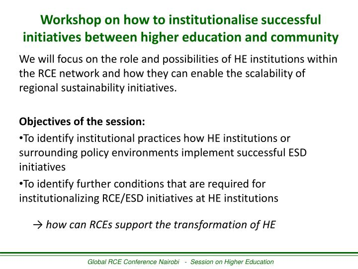 Workshop on how to institutionalise