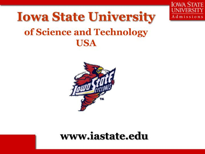 iowa state university of science and technology usa n.