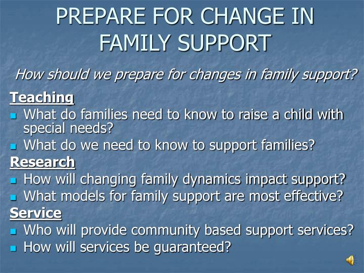 PREPARE FOR CHANGE IN