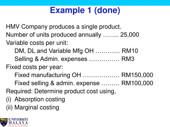 marginal and absorption costing examples