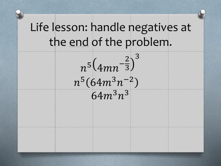 Life lesson: handle negatives at the
