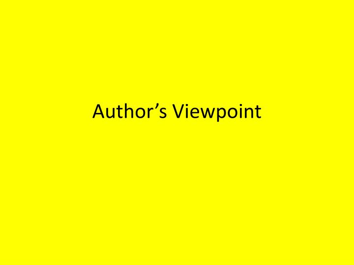 author s viewpoint n.