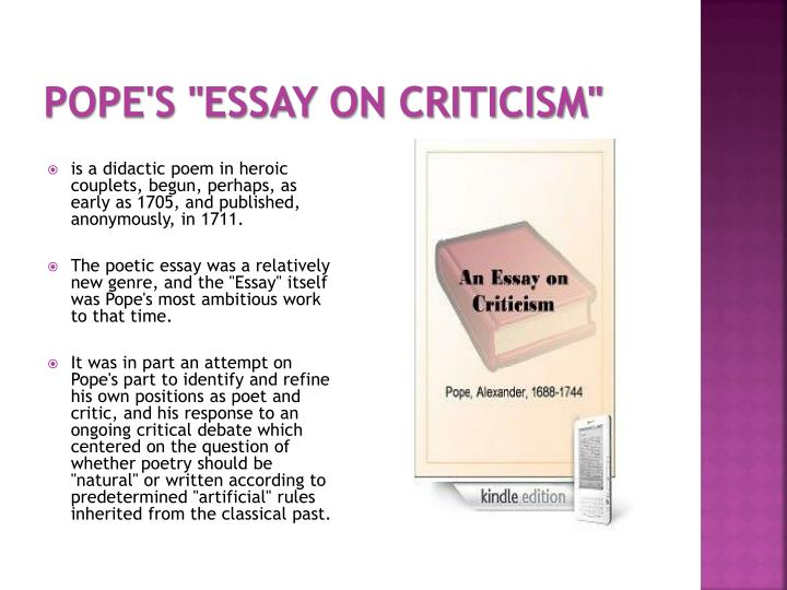 """Pope's """"Essay on Criticism"""""""
