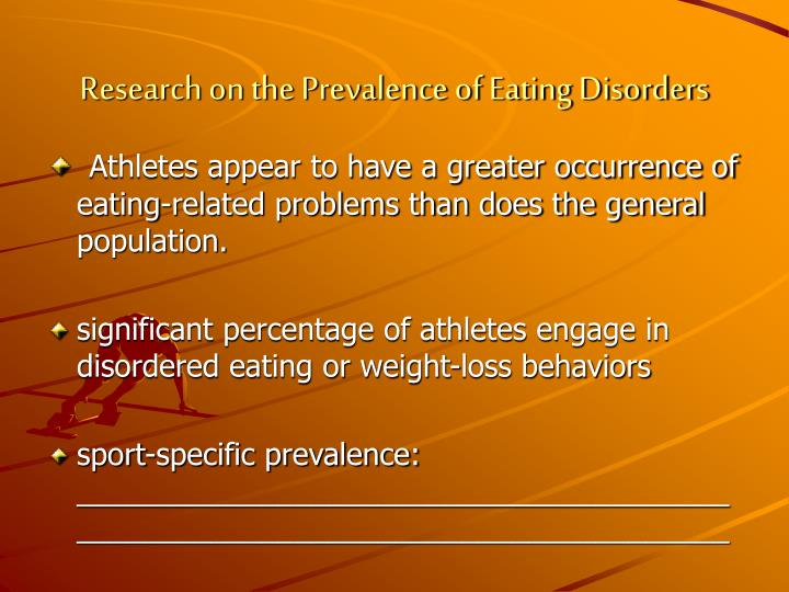 an introduction to the growing problem of eating disorders among athletes Eating disorders & athletes athletics are a great way to build self-esteem, promote physical conditioning, and demonstrate the value of teamwork, but not all athletic stressors are positive though most athletes with eating disorders are female, male athletes are also at risk—especially.