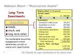 balance sheet noncurrent assets1