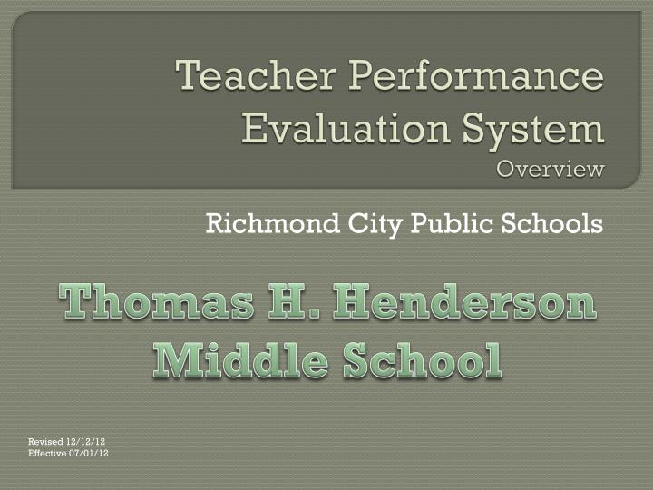 teacher performance evaluation system overview n.