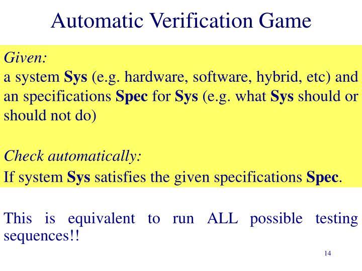 Automatic Verification Game