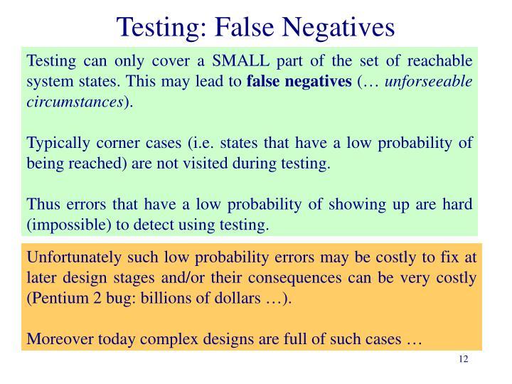Testing: False Negatives